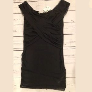 Zara Knit Tank Top S Black With Scrunched Overlay